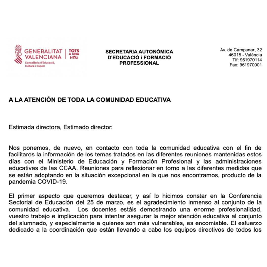 Escrito de la Conselleria d'Educació de la C. Valenciana